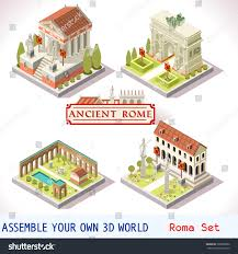 isometric building ancient rome landmark tile stock vector