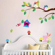 birds owl rabbit branch removable vinyl decal art mural home decor
