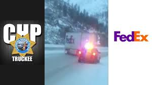 fedex driver navigates icy california highway with style the drive