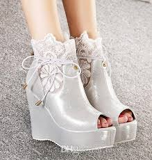 silver wedding shoes wedges embroidered white silver lace wedge wedding shoes peep toe