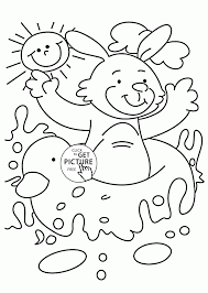 happy summer bunny coloring page for kids seasons coloring pages
