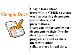 How To Create Google Doc Spreadsheet Google Docs Allows Users Within Gpisd To Create Word Processing