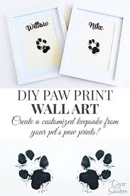 diy paw print wall art decor by the seashore