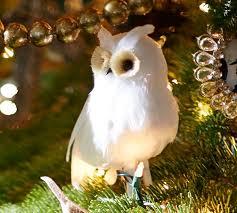 owl ornaments feather owl ornament pottery barn