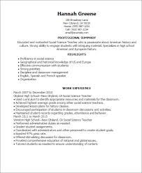 Resume Sample For Teaching by Professional Social Science Teacher Templates To Showcase Your