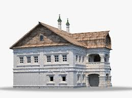 russian stone house with wooden roof 3d cgtrader