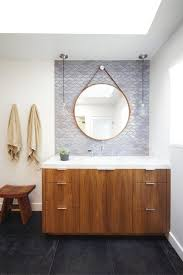 Walnut Bathroom Vanity Walnut Bathroom Vanity Mediterranean With Tile Flooring Black Mirrors