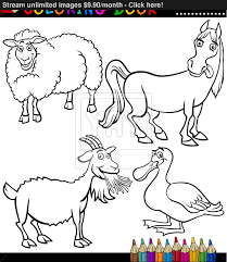 cartoon farm animals for coloring book vector yayimages com