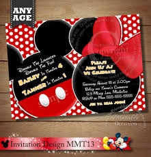 Mickey Mouse Invitation Cards Printable Huge Selection Mickey Mouse Invitation For Twins Minnie Mouse