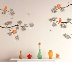 realistic pine tree branch with birds decals wall sticker