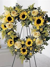 Sunflower Arrangements Ideas All Yellow Funeral Heart With Sunflowers And Yellow Roses