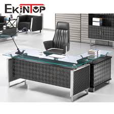 Chrome Office Desk Modern Executive Table Tempered Glass Office Desk With Metal