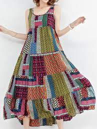 maxi dresses online bohemian patchwork sleeveless o neck maxi dresses online