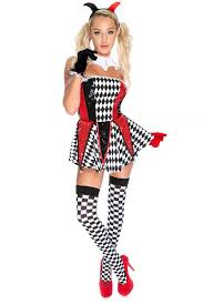 red black strapless one piece jester costume