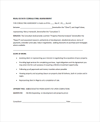sample real estate consulting agreement templates 8 free