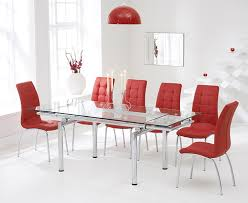 Red Leather Kitchen Chairs - buy mark harris california 140cm extending glass dining set with 6