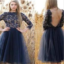 tulle homecoming dress navy blue prom dresses backless homecoming