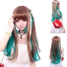 65 cm harajuku anime ombre wig cosplay long curly wave synthetic