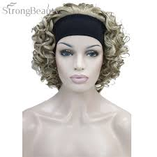 headband wigs strong beauty synthetic hair fake short kinky curly blonde black wig