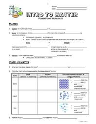 introduction to powerpoint introduction to matter powerpoint worksheet editable by