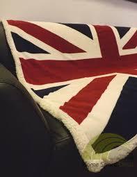 union jack sherpa fleece throw blanket in red white u0026 blue