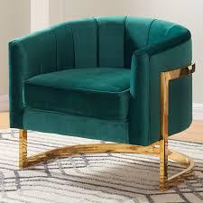 Velvet Accent Chair Meridian Furniture Green Velvet Accent Chair On Gold