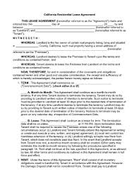 residential lease agreement california association of realtors