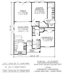 2 Bedroom Bath House Plans Cottage 1 Level Plan 2051 A 2nd F