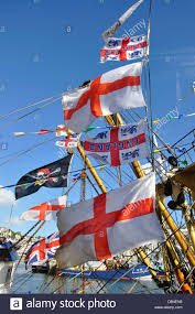 england and st george u0027s flags flying from trawler brixham devon