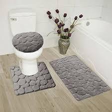 Bathroom Contour Rug Gorgeoushome 3pc Grey Rock Design Embossed Bathroom Set Bath Mat