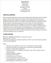 Occupational Therapy Resume Examples by Sample Physical Therapist Resume 8 Examples In Word Pdf
