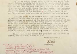 see j r r tolkien u0027s letter to fan that changed hobbit lore