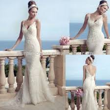 spaghetti strap embroidered lace appliques v neck mermaid wedding