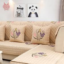 couvre canapé pastorale floral broderie coton matelassé housse de canapé housses