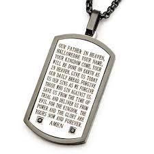 amen prayer steel cz stones mens dog tag necklace