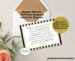 bridal shower gift card display shower gift card unwrapped gift request poem insert