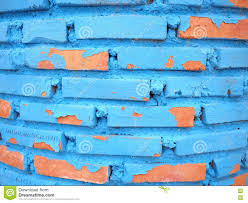 blue paint peeling old brick wall background texture stock