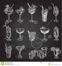 hand drawn sketch set of alcoholic cocktails vector illustration