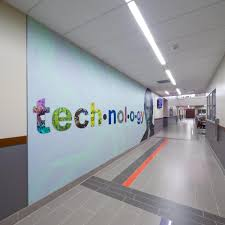 with acrovyn wall art gets a digital dimension metropolis the designs at pasadena independent school district s new dr kirk lewis career technical high school incorporated high resolution digital imagery of