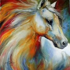 decor animal oil painting with horse artwork for wall art and