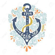 colorful marine design with anchor and hand lettering elements