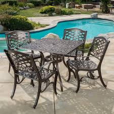 Square Patio Table by Odena Cast Aluminum 5 Piece Outdoor Dining Set With Square Table