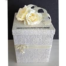 wedding money box wedding card box ivory lace white pearl single tier wedding