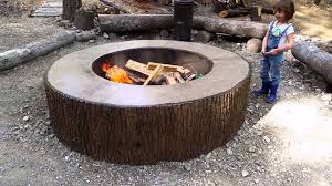 Concrete Fire Pit by Tree Bark Concrete Firepit Stamp Mold Youtube