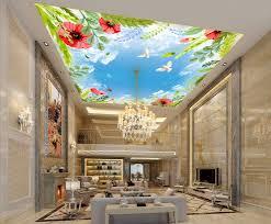 wdbh custom 3d ceiling murals wallpaper bird butterfly white