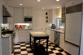 chic checkered tiles flooring harmonizing with the white kitchen