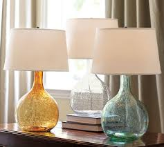 colorful glass lamps from pottery barn master bedroom