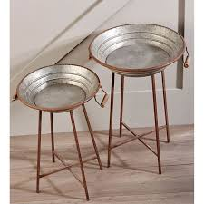 Rustic Home Furnishings Giftcraft 086423 Galvanized Metal Side Tables Hope Home