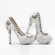 wedding shoes cork wholesale luxurious cinderella shoes prom evening high heels beading