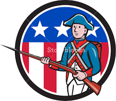 Blue Flag Stars In Circle Illustration Of An American Revolutionary Soldier Minuteman